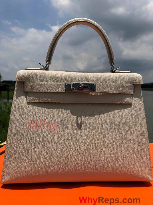 cc4136b3236a Hermes Kelly 28 Bag Replica Review (Craie Epsom PHW) - WhyReps