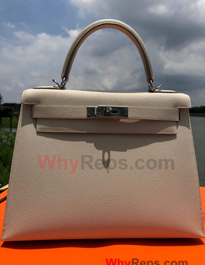 Hermes Kelly 28 Bag Replica Review (Craie Epsom PHW)