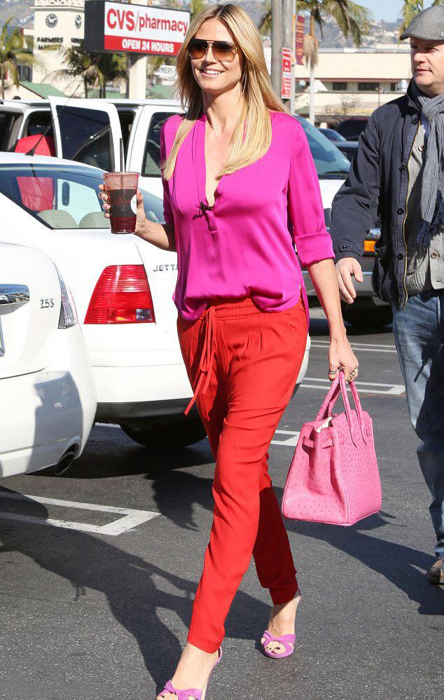 Heidi Klum Hermes Birkin pink - 10 Celebrities Who Wear Hermes Birkin Bags
